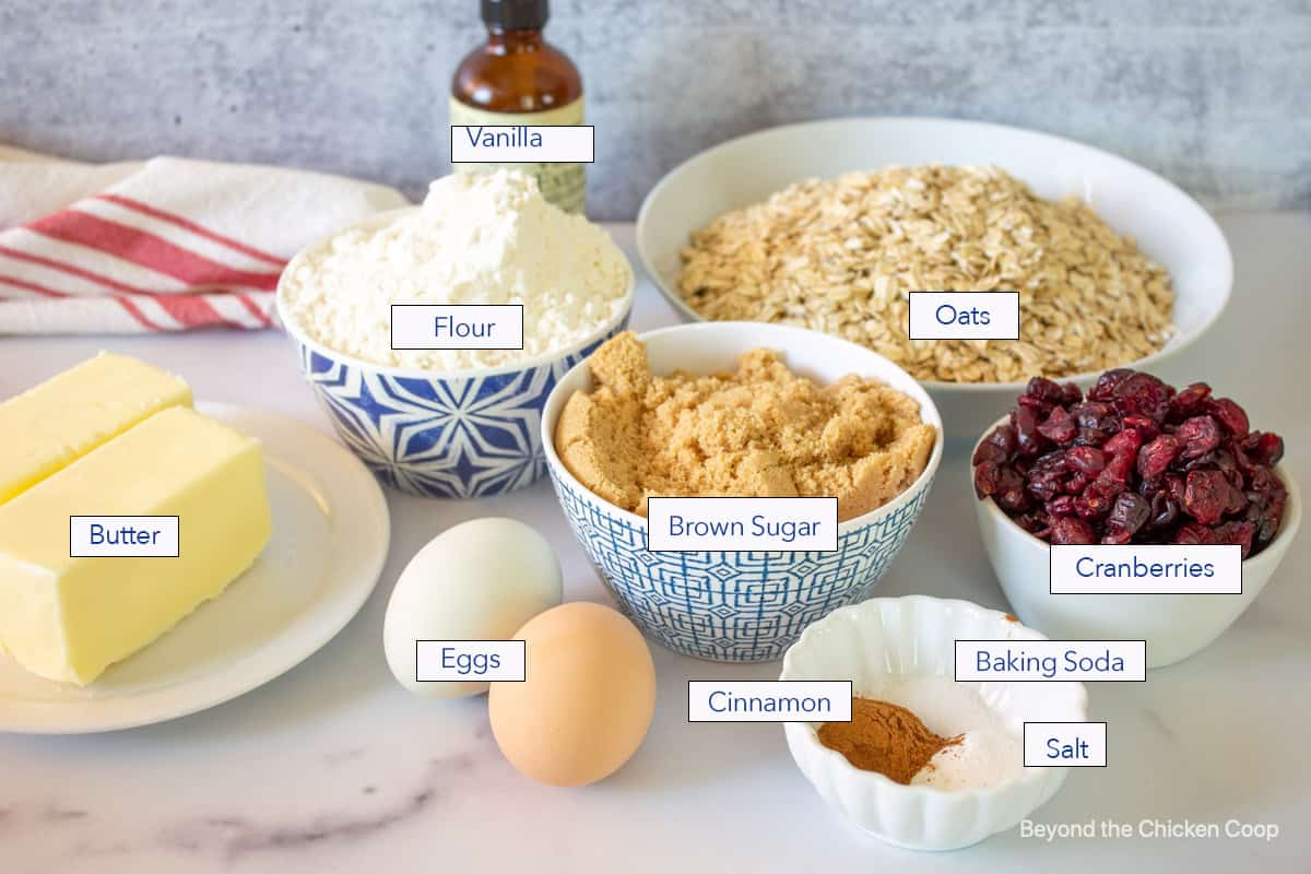 Ingredients for making oatmeal cookies with cranberries.