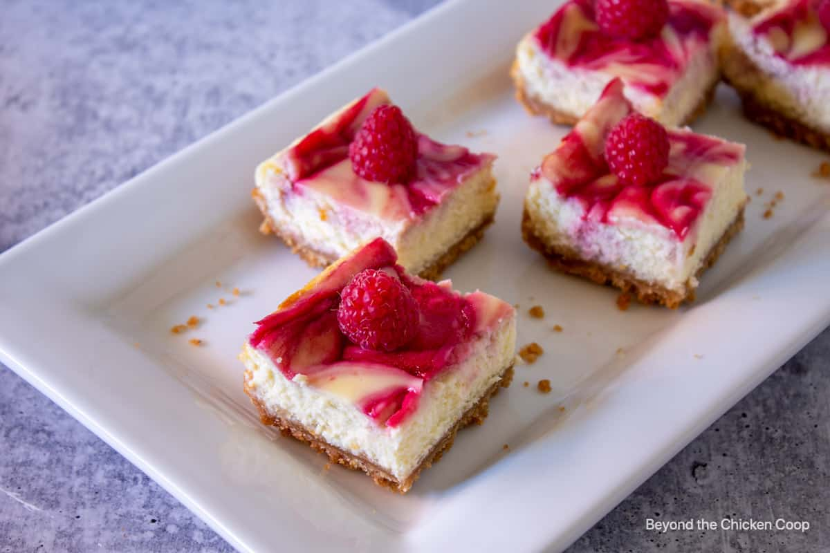 Squares of cheesecake topped with fresh raspberries.