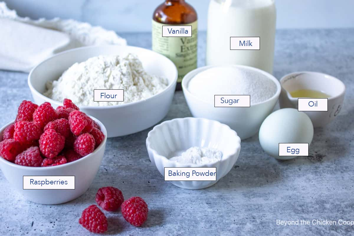 Ingredients for making baked donuts.