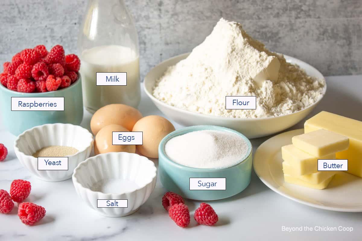 Ingredients for making raspberry sweet rolls.