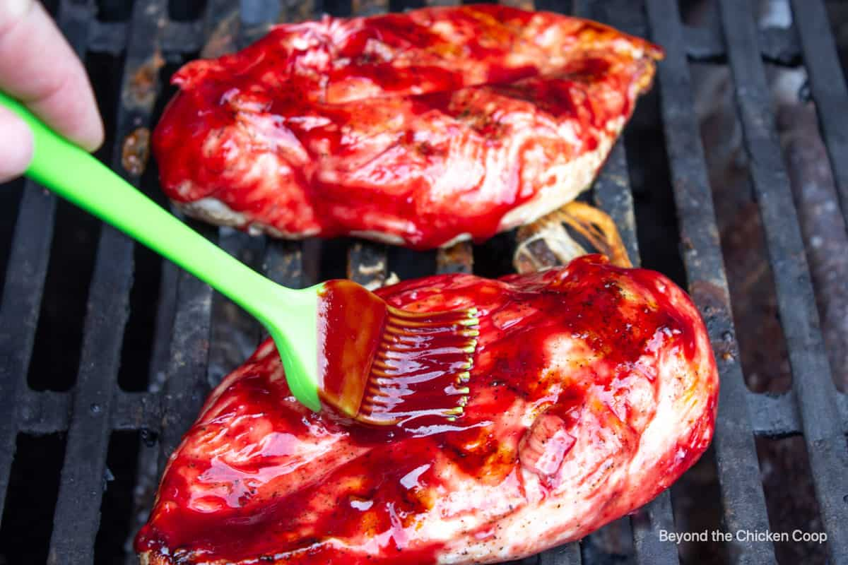 BBQ sauce basted of chicken breasts.
