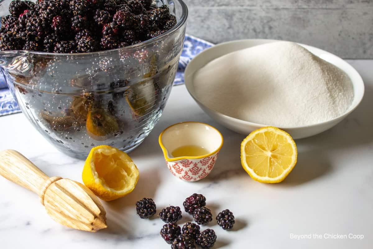 Fresh blackberries, sugar and lemon juice.