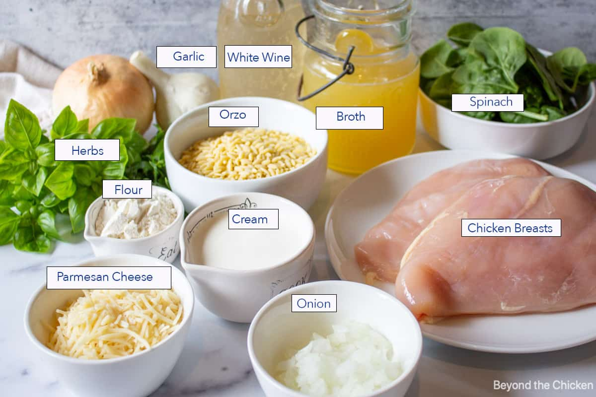 Ingredients for making a chicken and pasta dish.