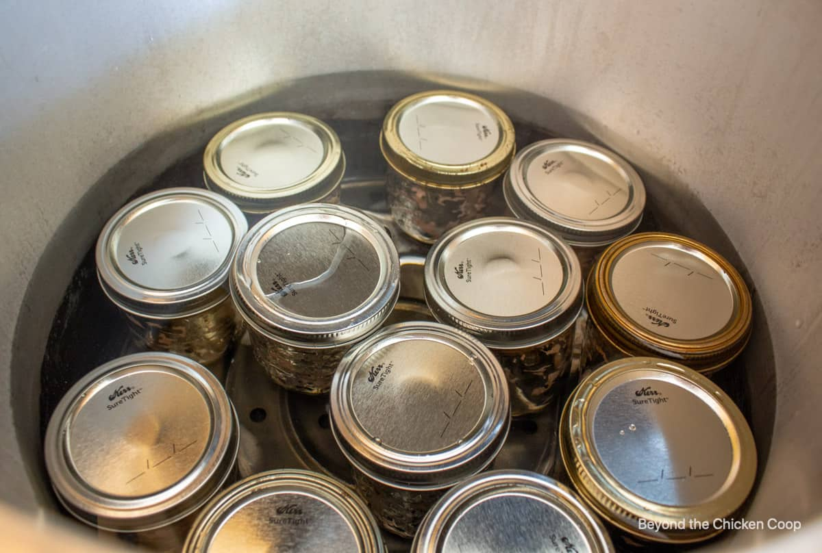 Canning jars in a pressure cooker.