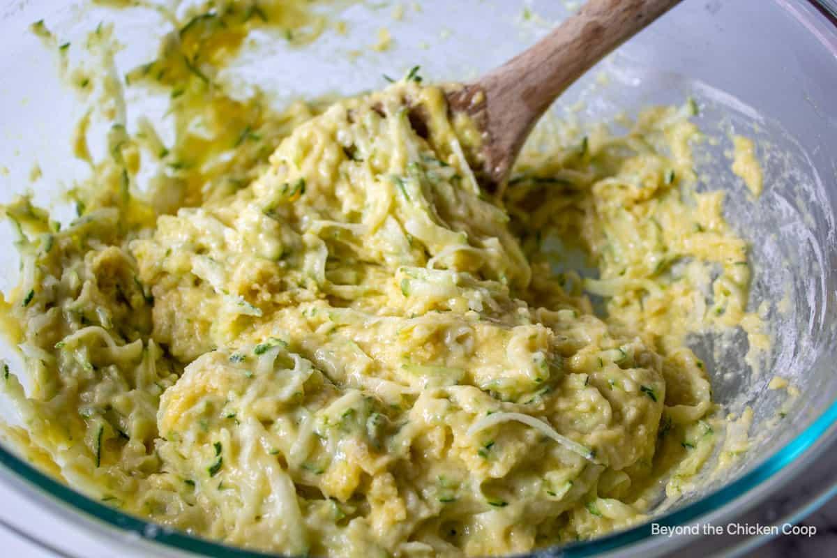Zucchini bread batter in a bowl.