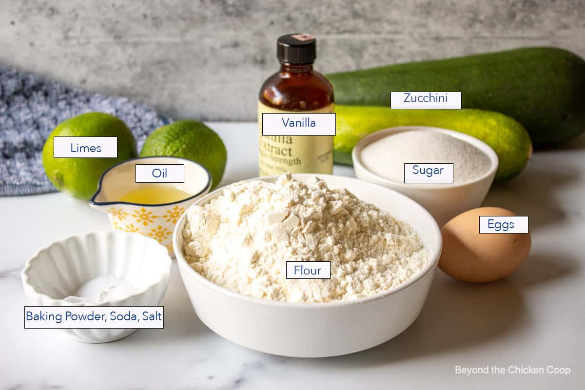 Ingredients for making zucchini bread with lime glaze.