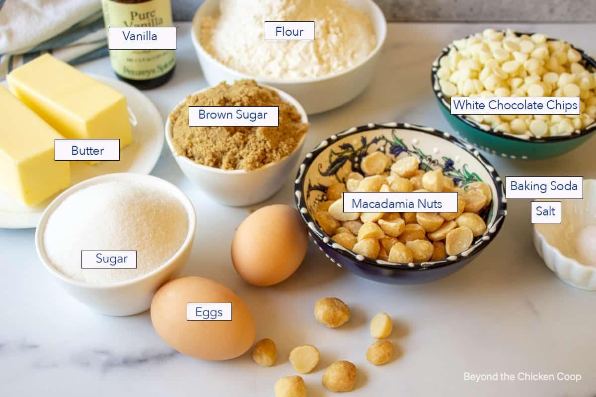 Ingredients for making macadamia nut cookies.