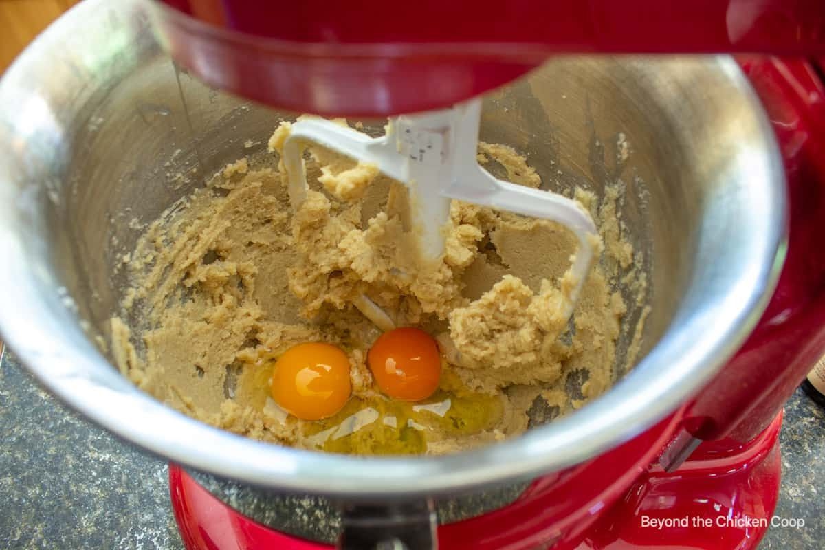Eggs in cookie batter.