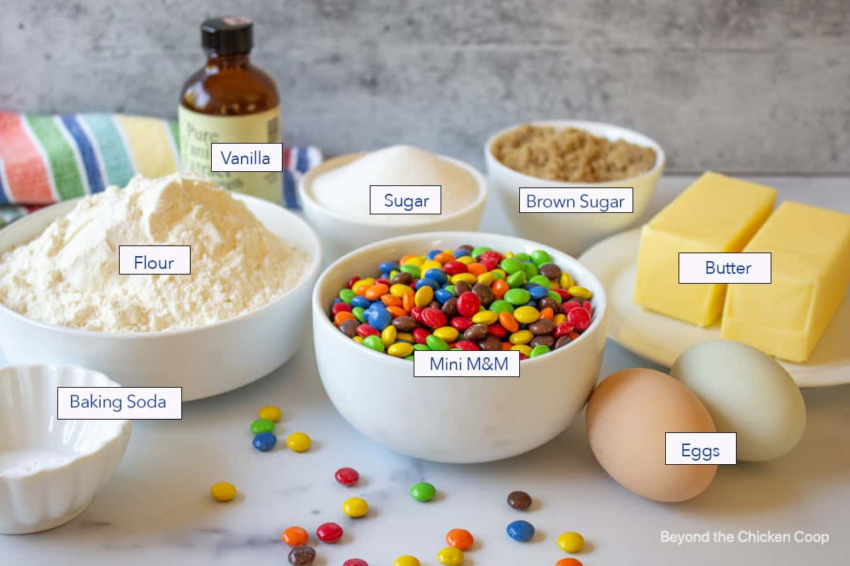 Ingredients for making M and M cookies.