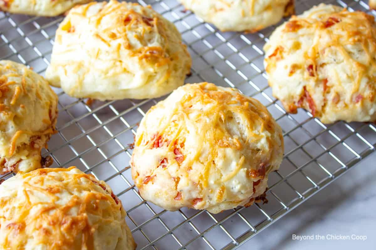 Biscuits on a baking rack.