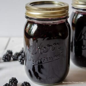 A canning jar filled with homemade jam.