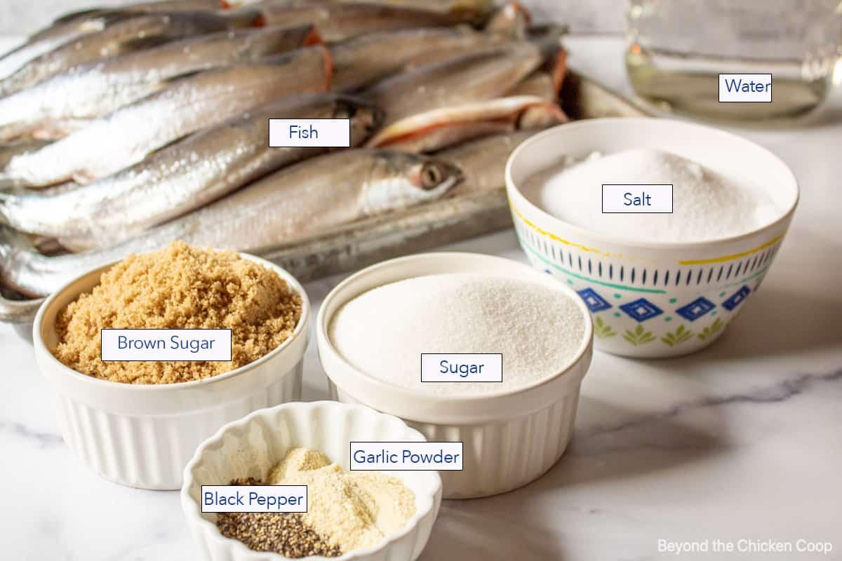 Ingredients for making smoked fish.