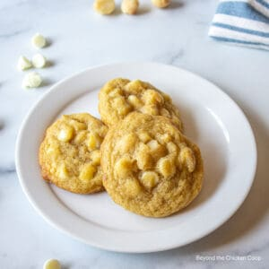 Three cookies with nuts on a plate.