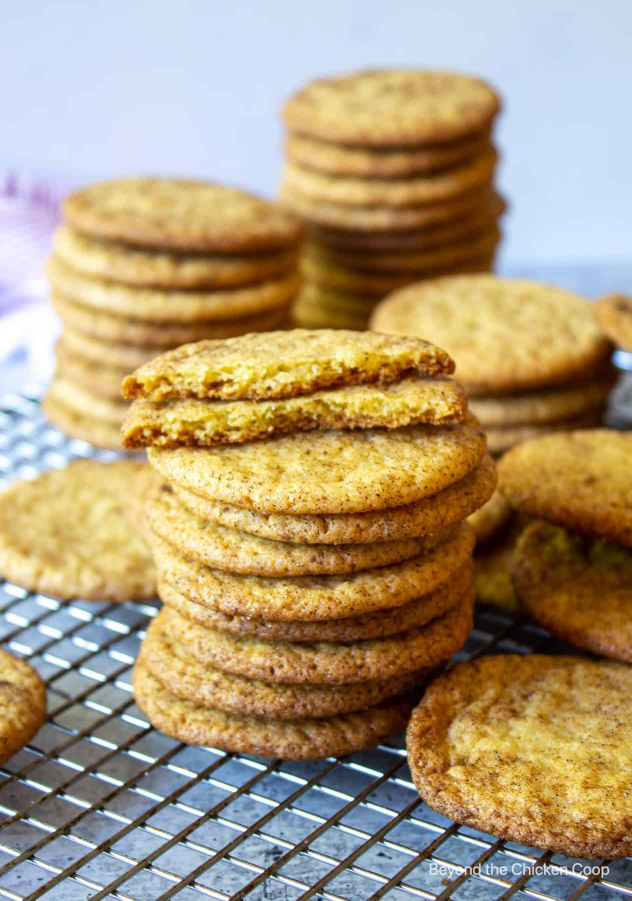 A stack of cookies on a baking rack.