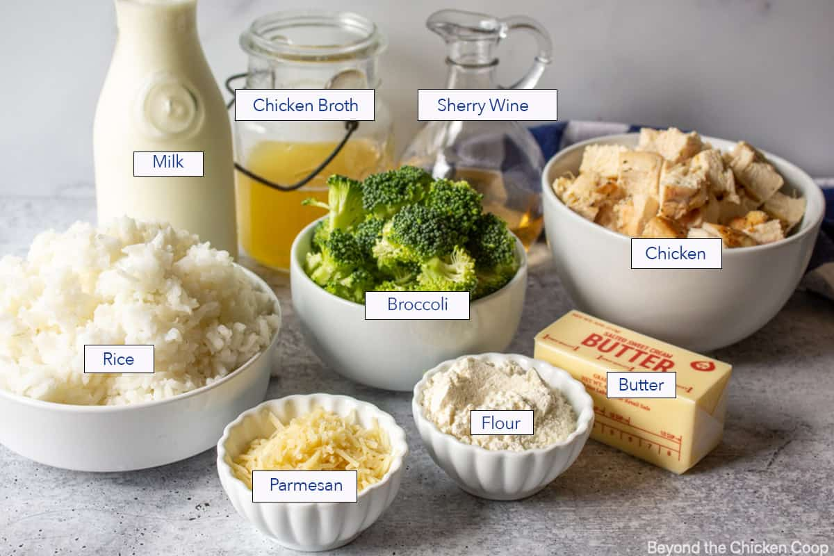 Ingredients needed for making a chicken and rice casserole.