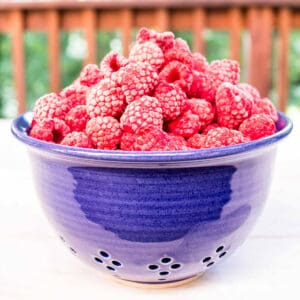 A blue bowl filled with raspberries.