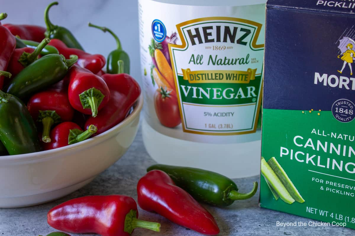 Ingredients for making pickled peppers.