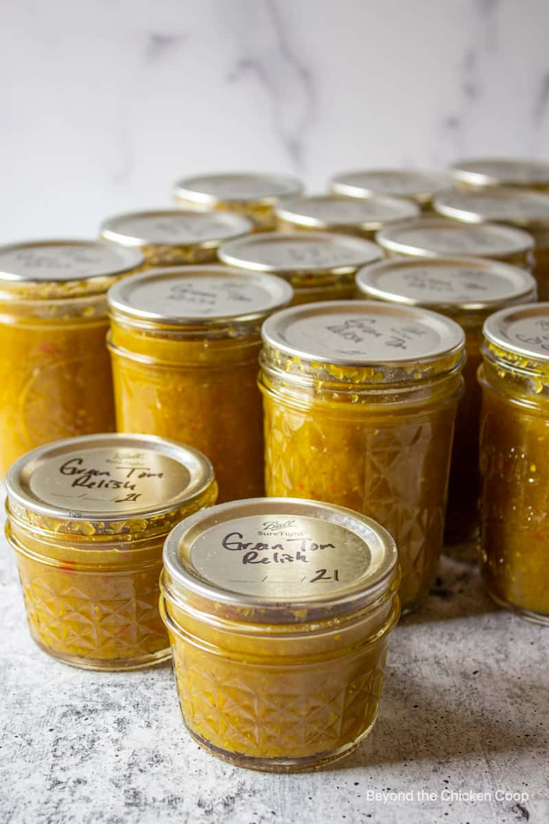 Home canned jars of food.