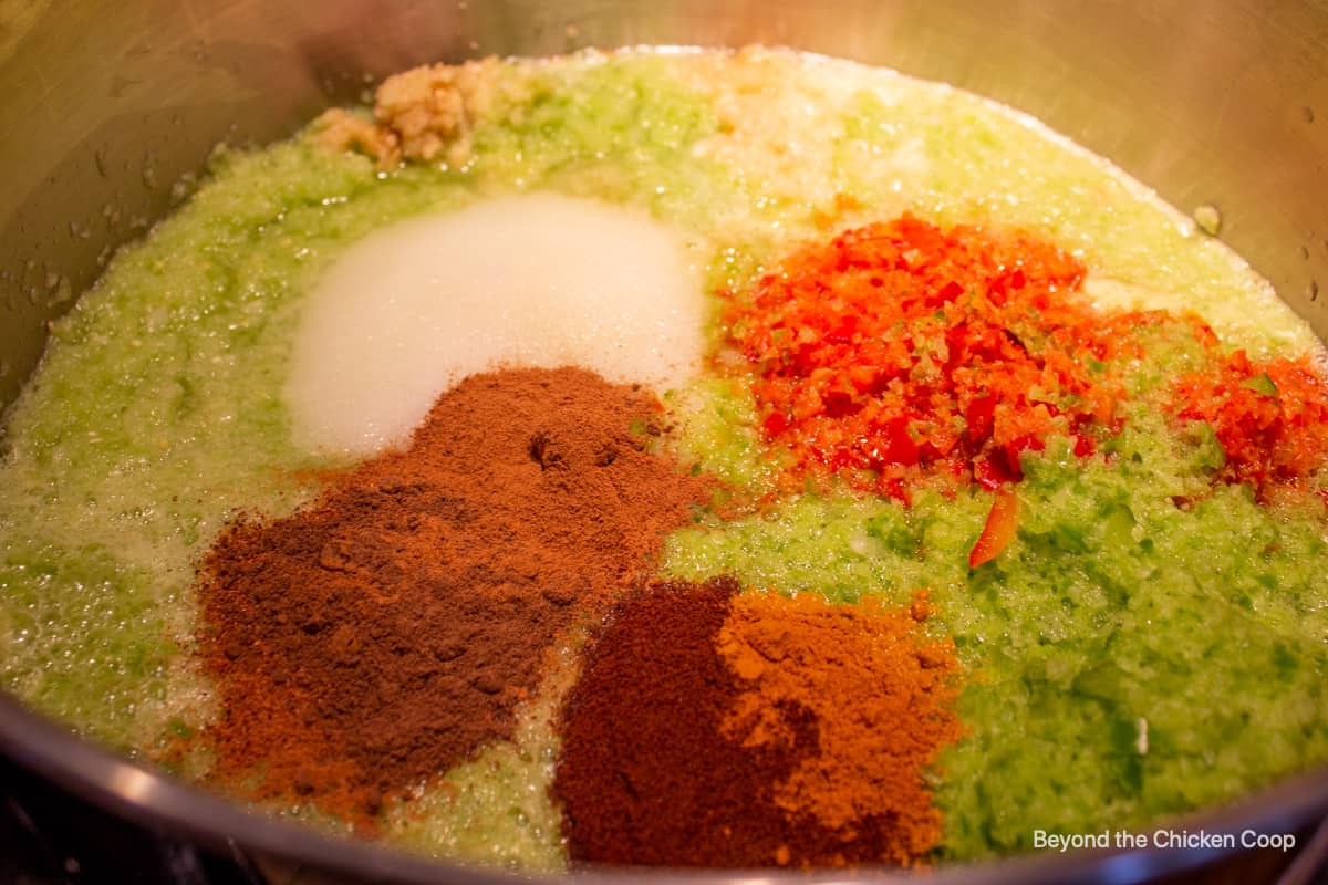 Seasonings added to pureed veggies.