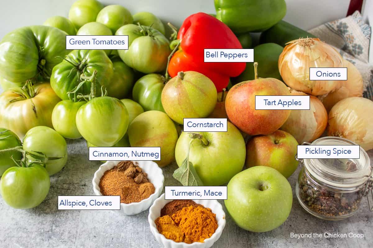 Ingredients for making green tomato relish.